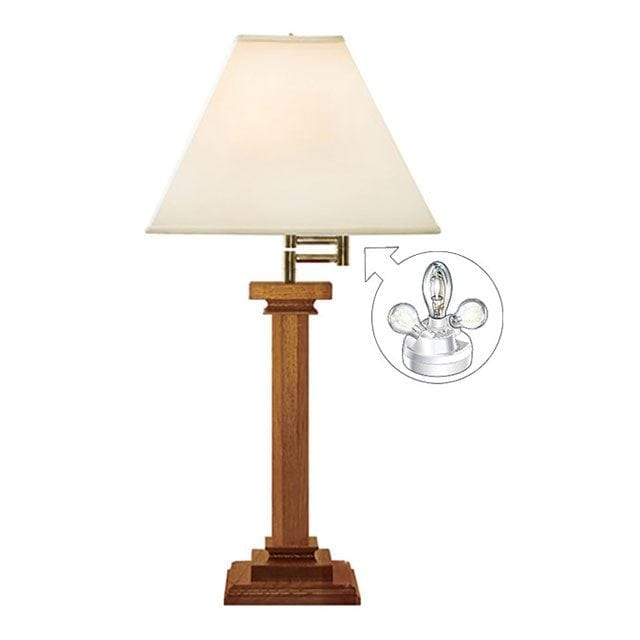 Microsun Mission Cherry Wood Swing Arm Table Lamp